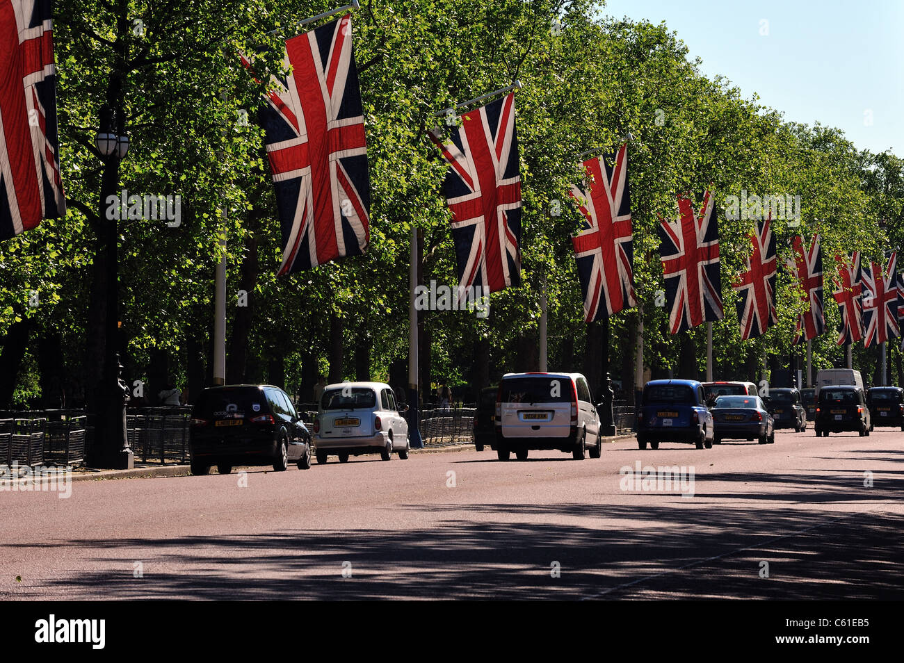 Union flags line The Mall, London - Stock Image