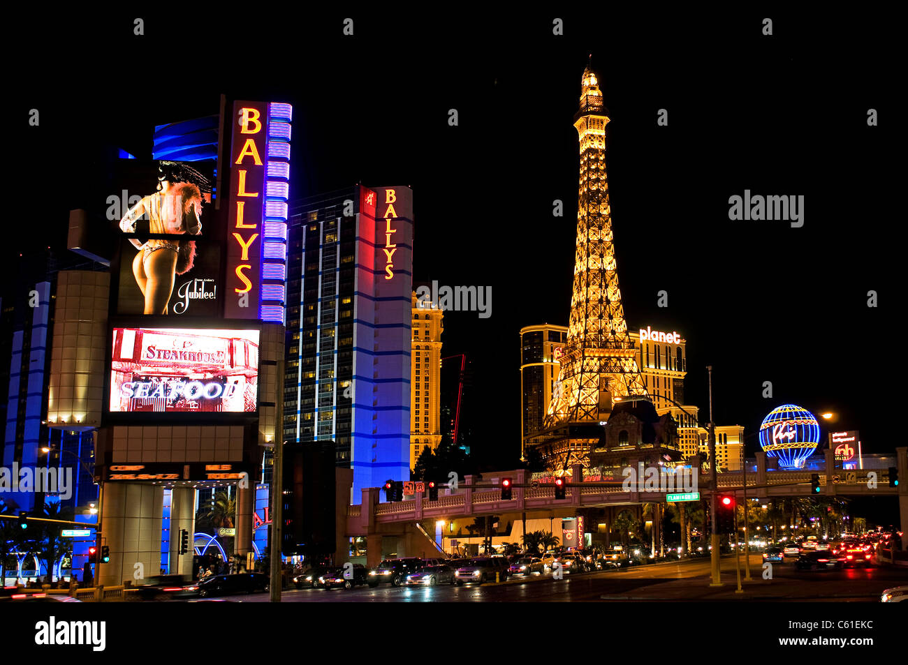 Las Vegas NV Nevada City Night Nighttime Stock Photo