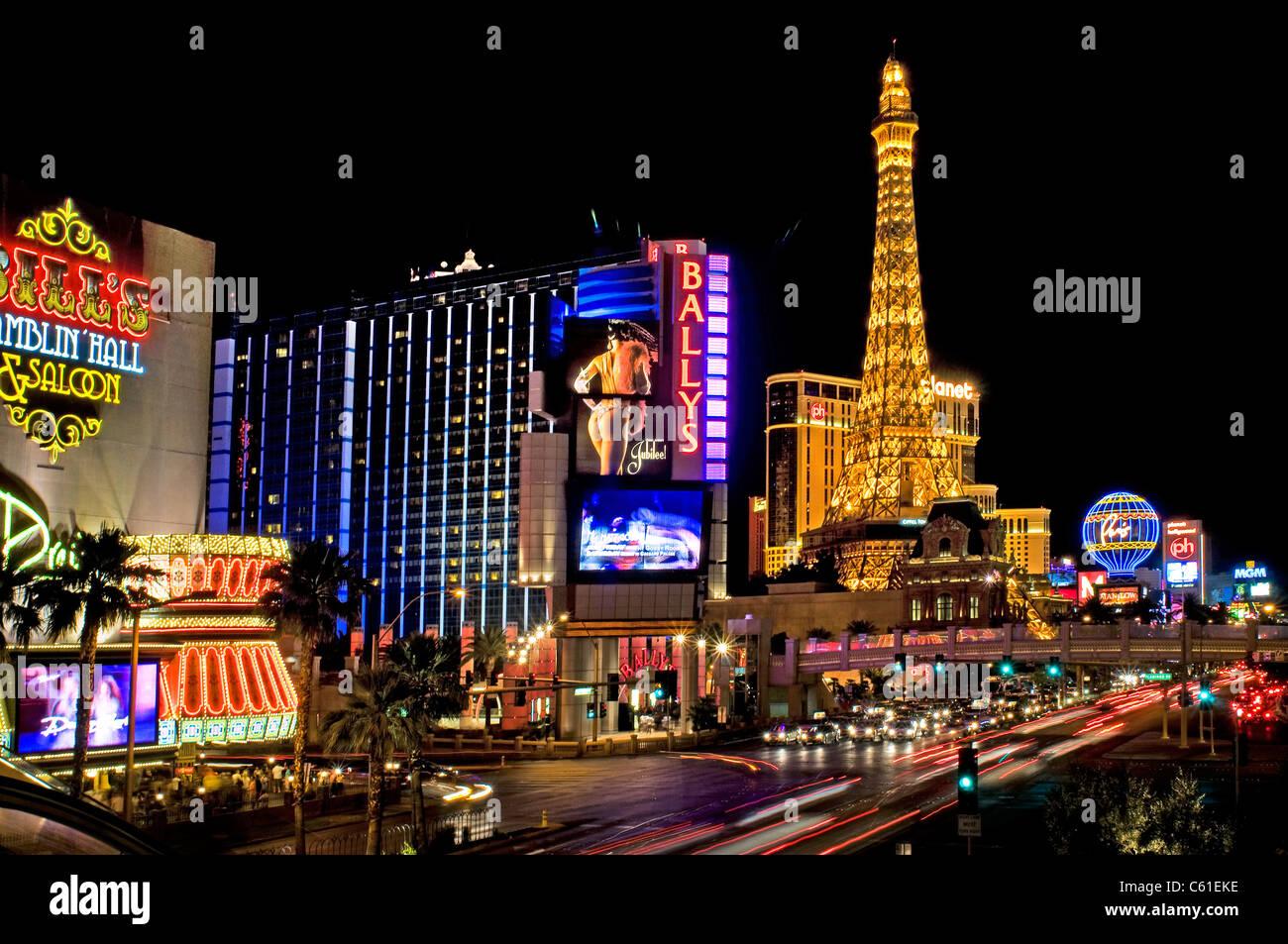 Las Vegas Nevada: Las Vegas NV Nevada City Night Nighttime Stock Photo