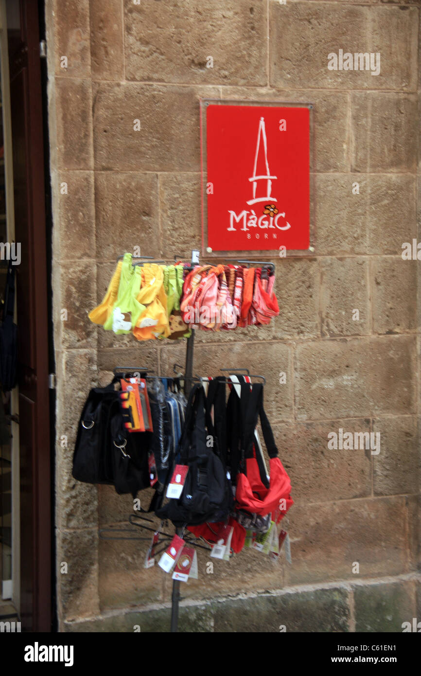 Bikinis on sale at a store in Menorca - Stock Image