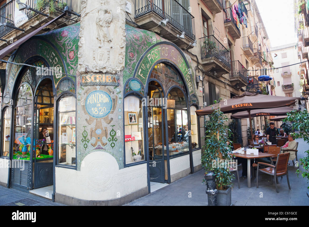 Spain, Barcelona, Las Ramblas, The Escriba Patisserie and Chocolate Shop - Stock Image