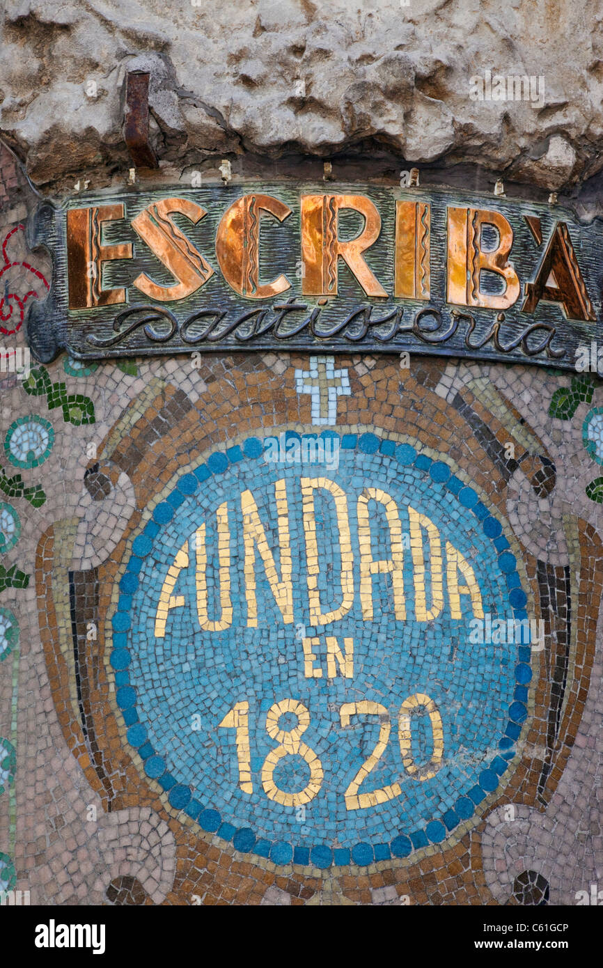 Spain, Barcelona, Las Ramblas, Detail of the Facade of The Escriba Patisserie and Chocolate Shop - Stock Image