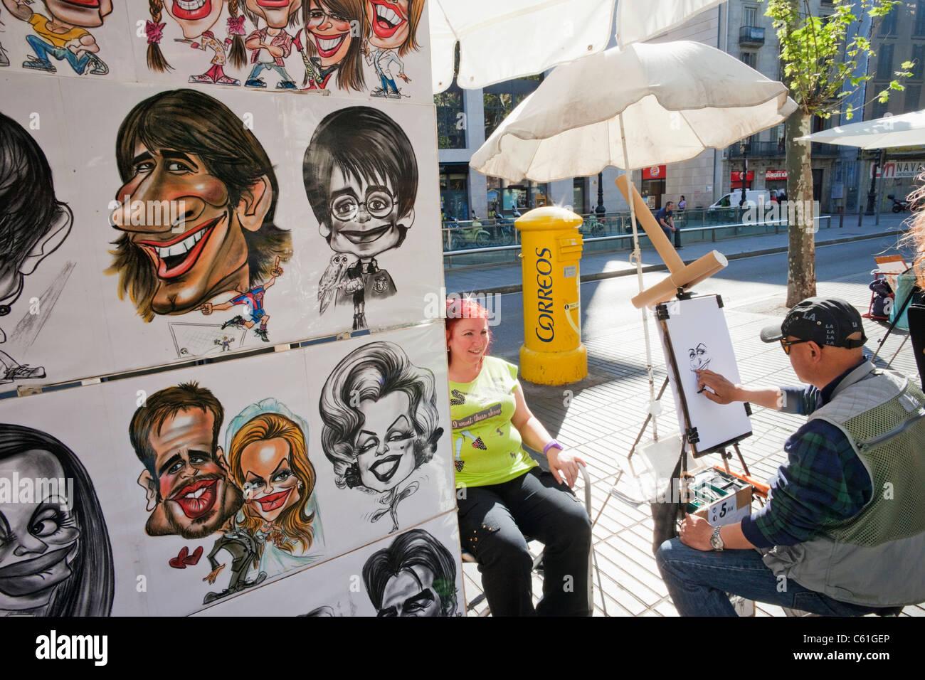 Spain Barcelona Las Ramblas Caricature Artist Stock Photo Alamy