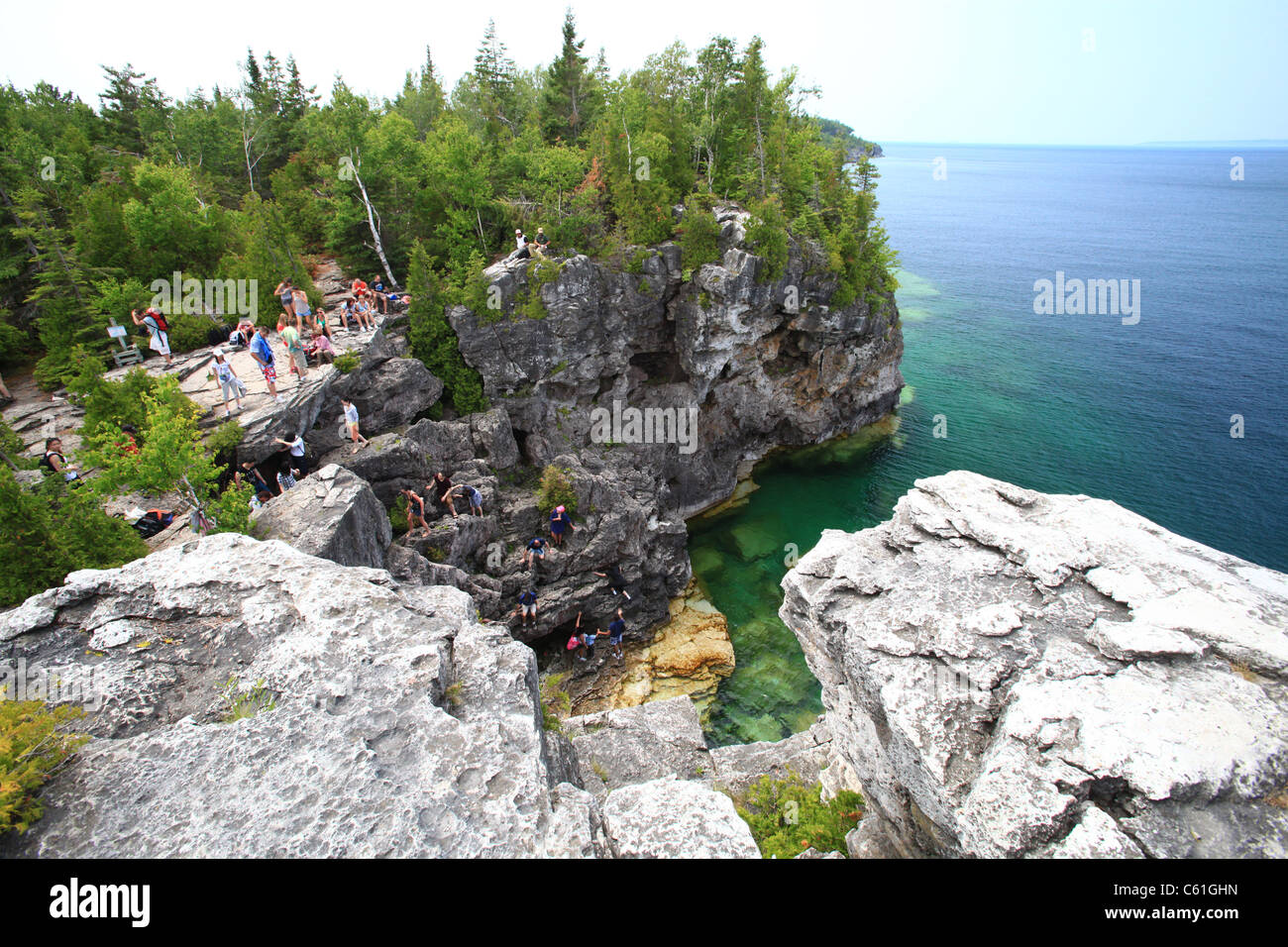 Rock formation and shoreline in Tobermory, Georgian bay, Ontario, Canada - Stock Image