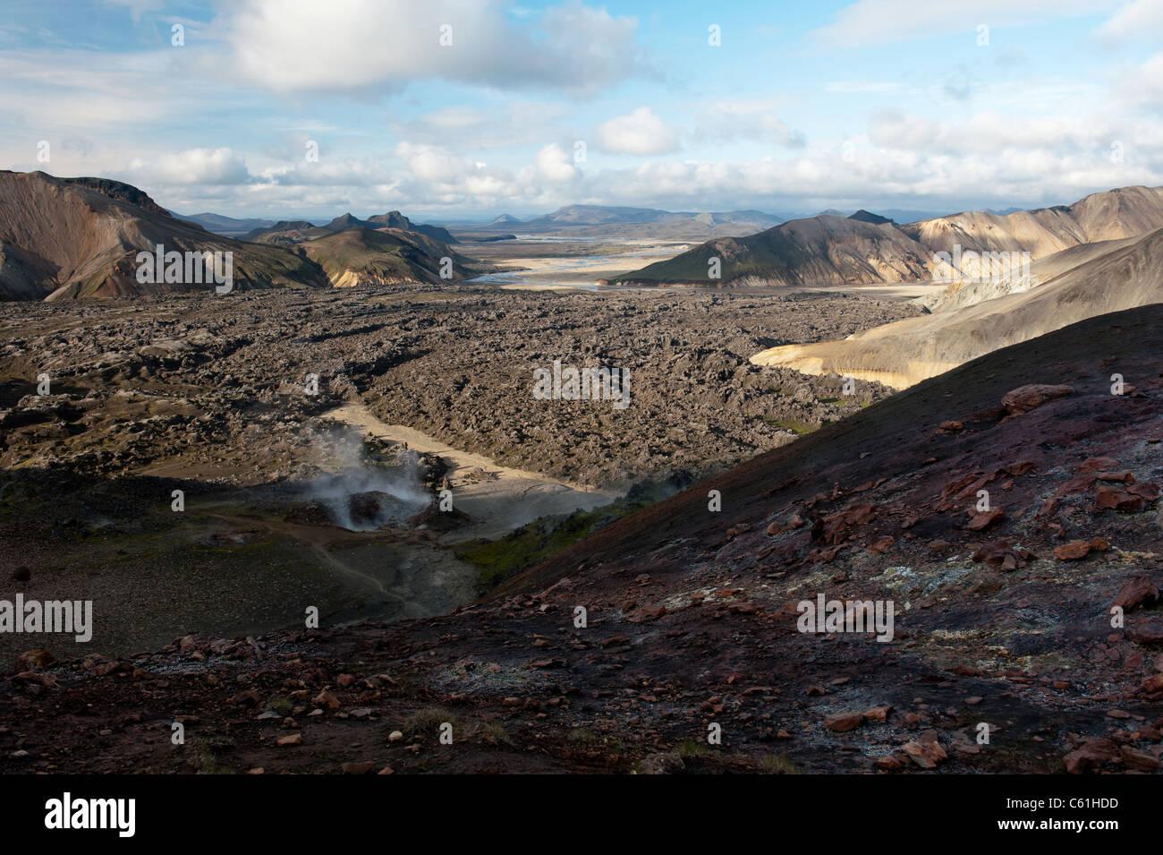 lava field at Landmannalaugar mountains, Iceland - Stock Image