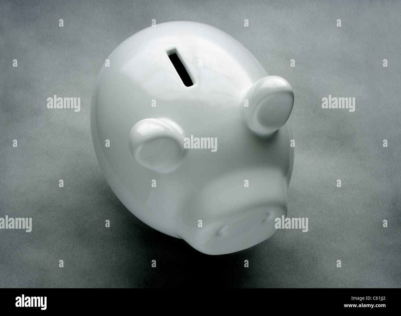 PIGGYBANK WHITE PIG MONEYBOX PIGGY BANK Stock Photo