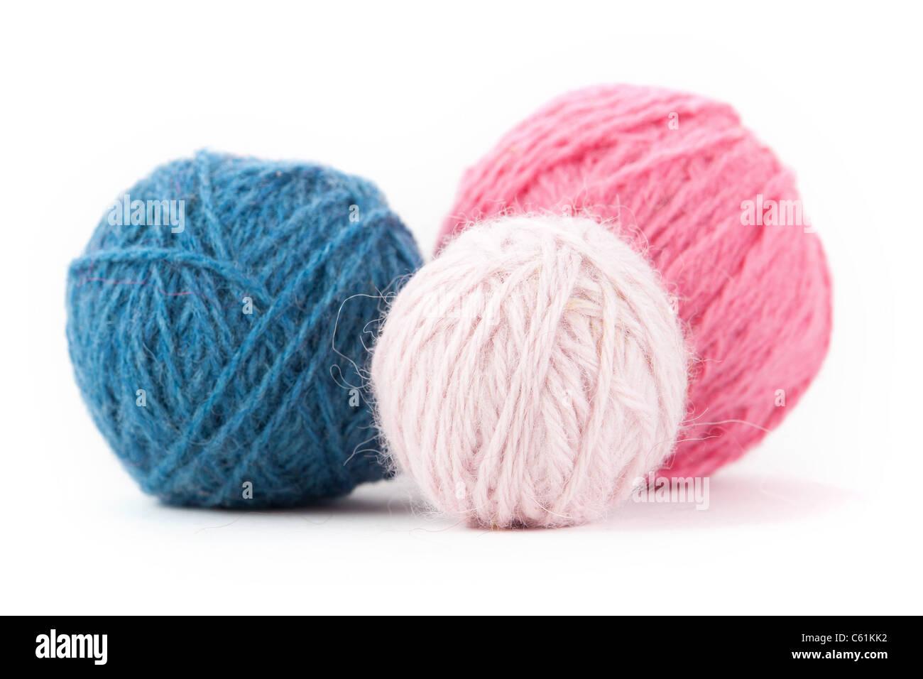 Set of Pastel Tone Yarn Balls - Stock Image