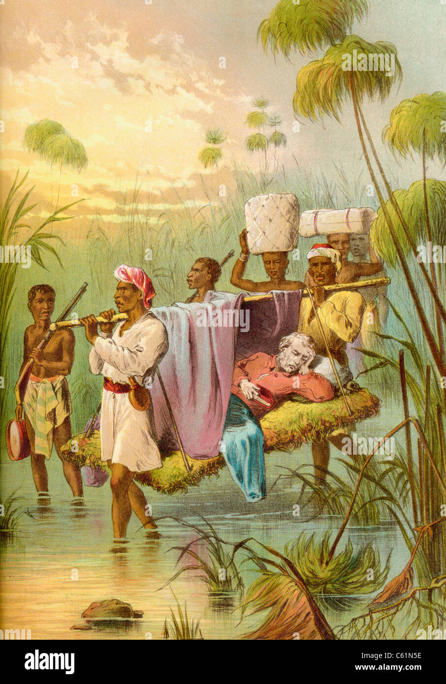 David Livingstone being carried 'The Last Mile' to die at his African home in Ujiji, Tanganyika, Africa - Stock Image