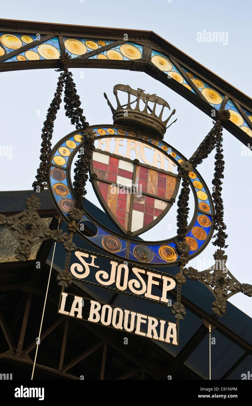 The entrance to La Boqueria, Barcelona's famous food market - Stock Image
