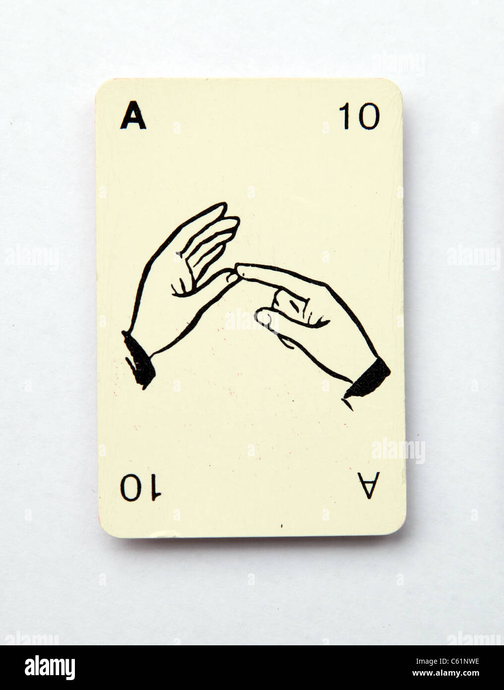The letter a spelt on an old playing card from the 1960s,  'Kan-U-Go' - Stock Image