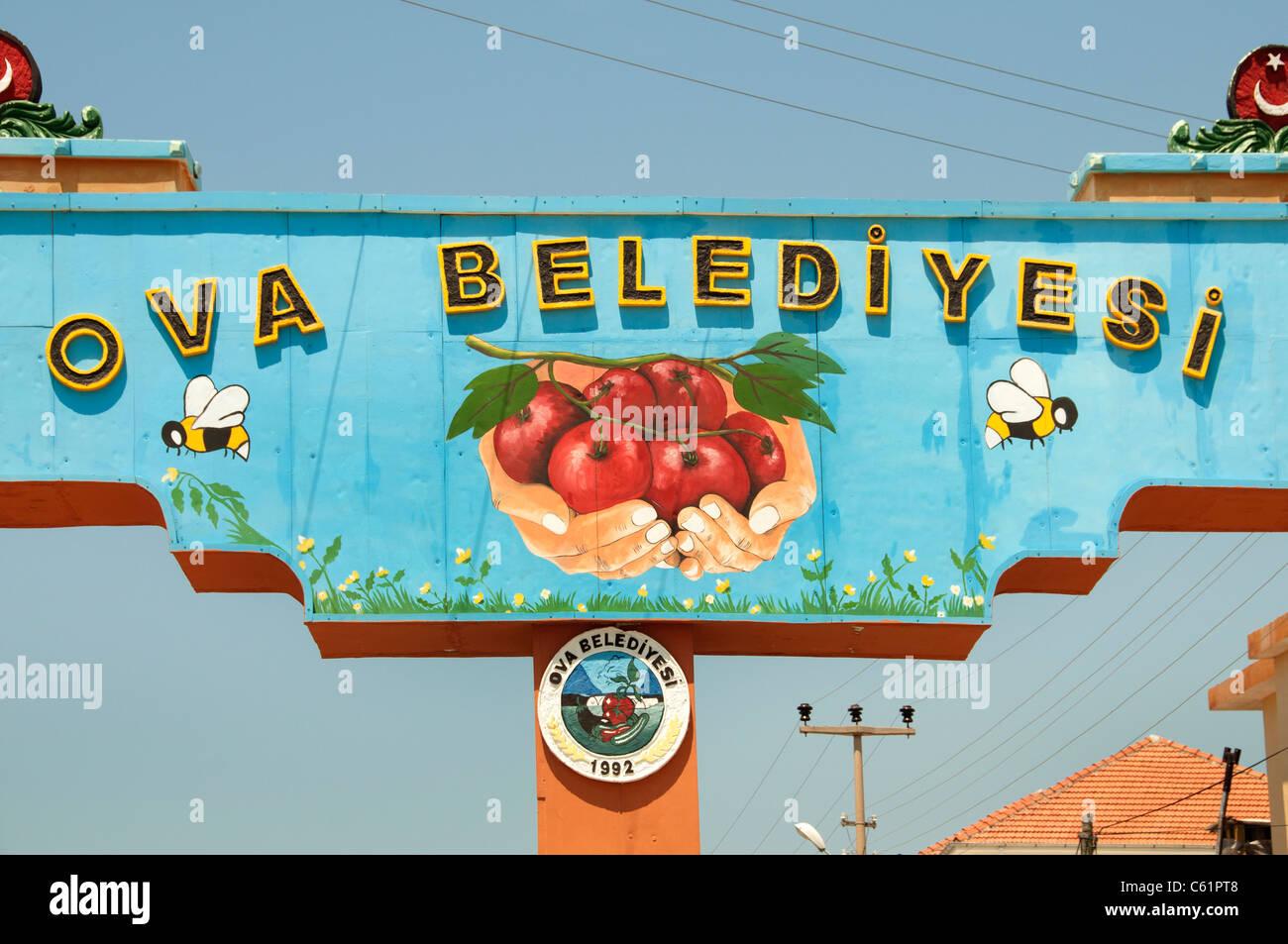 Sign vegetable wholesale auction near Fethiye South West Turkey - Stock Image