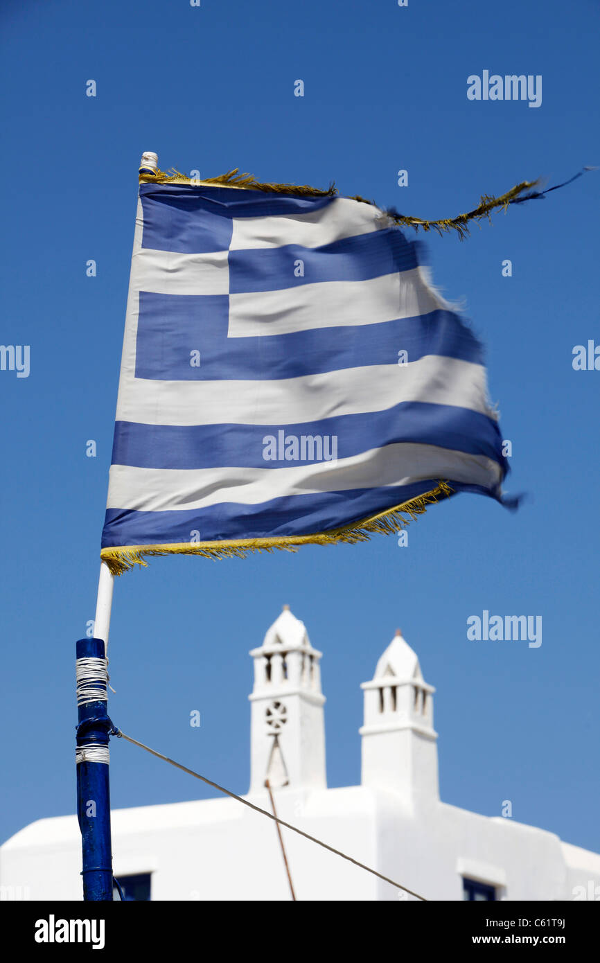 Greek flag, Old town, typical white and blue colors, Mediterranean island Mykonos, Greece, Europe. Stock Photo