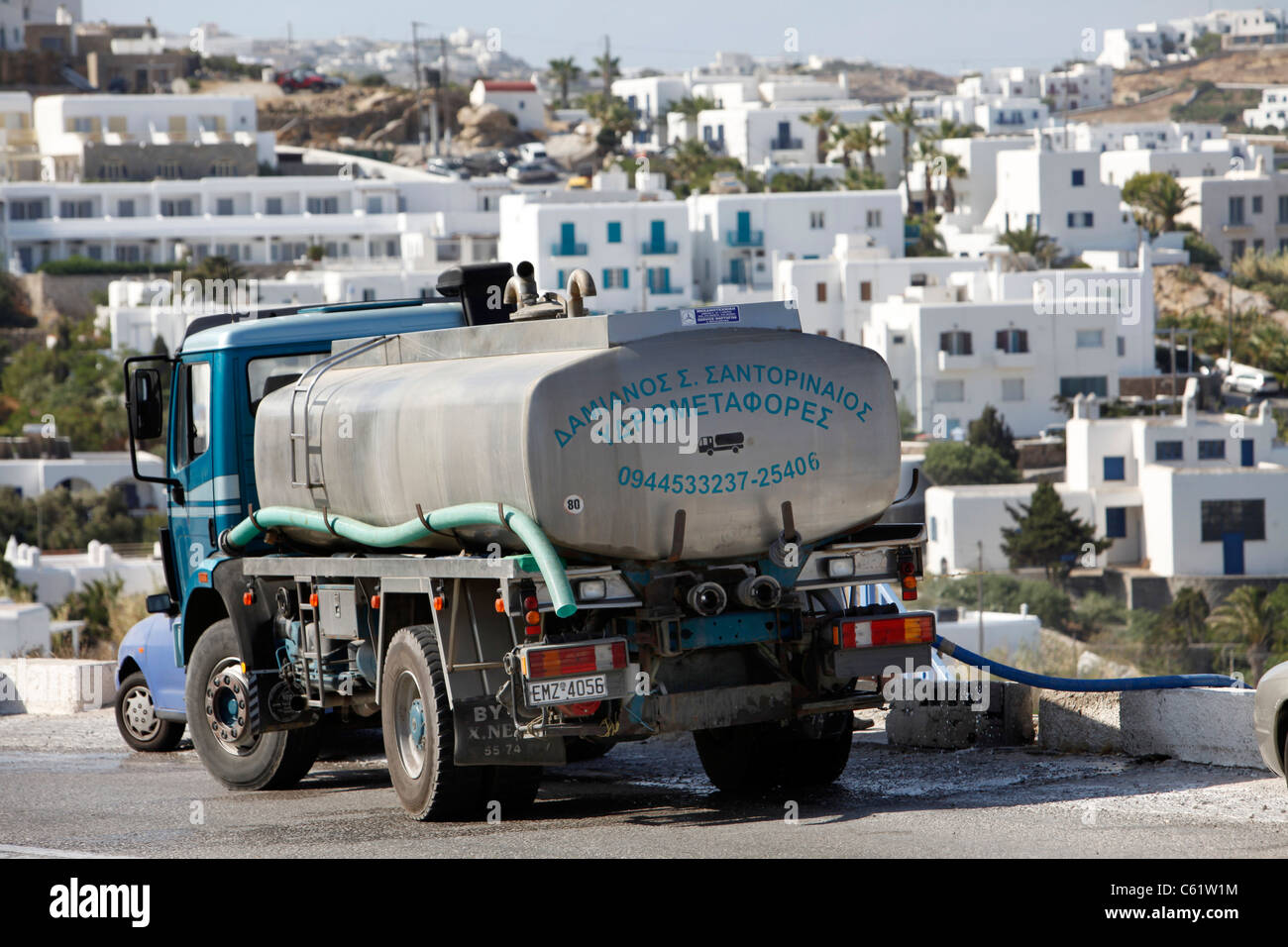 Sweet water tanker, delivers water to a private house, Mykonos, Greece, Europe. Stock Photo