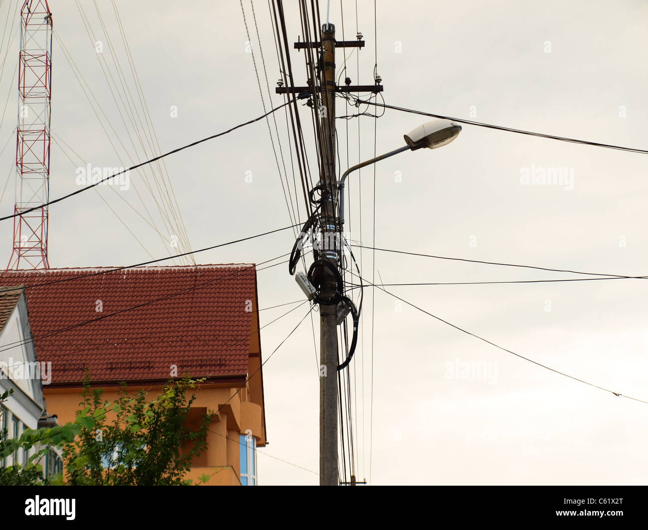 Aerial Cables Stock Photos Images Alamy Power Aerialwiringpicturejpg Street Pile Full Of Image