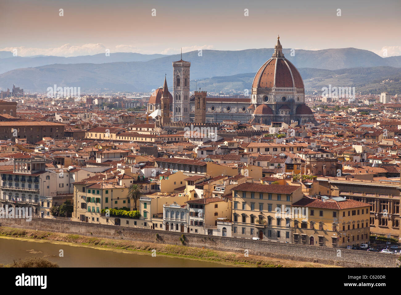 Florence, Italy, late afternoon sunlight, Centrally placed is the Duomo, The Basilica di Santa Maria del Fiore Stock Photo