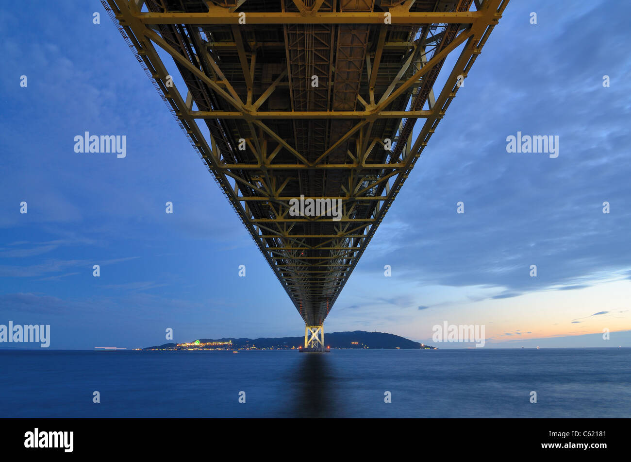 Akashi Kaikyo Bridge spans the Seto Inland Sea with the longest central span of any suspension bridge in the world. - Stock Image