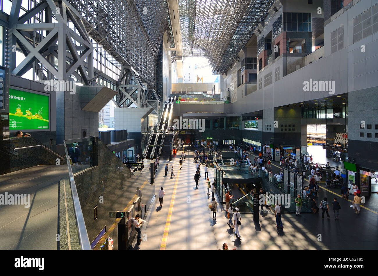 Kyoto, Japan - July 10, 2011: Kyoto Station is one of the biggest stations in Japan. - Stock Image