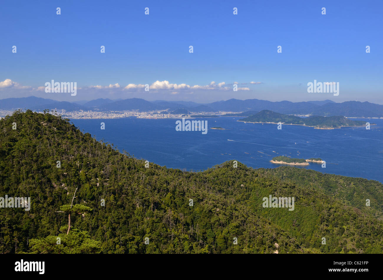 Seto Inland Sea in Japan as seen from Mt. Misen on Itsukushima Island. Stock Photo