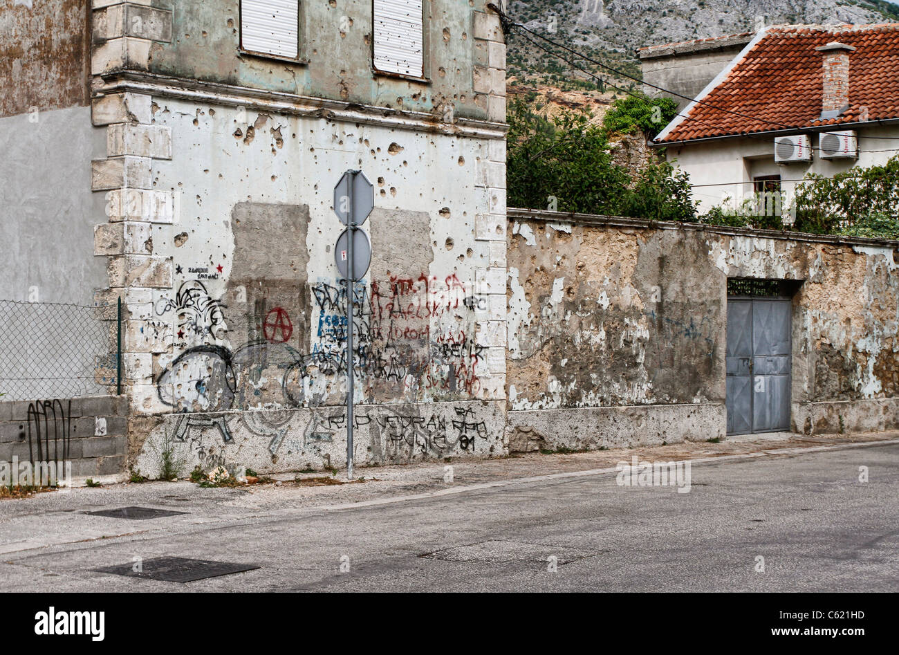 War damaged buildings in Mostar, Bosnia and Herzegovina - Stock Image