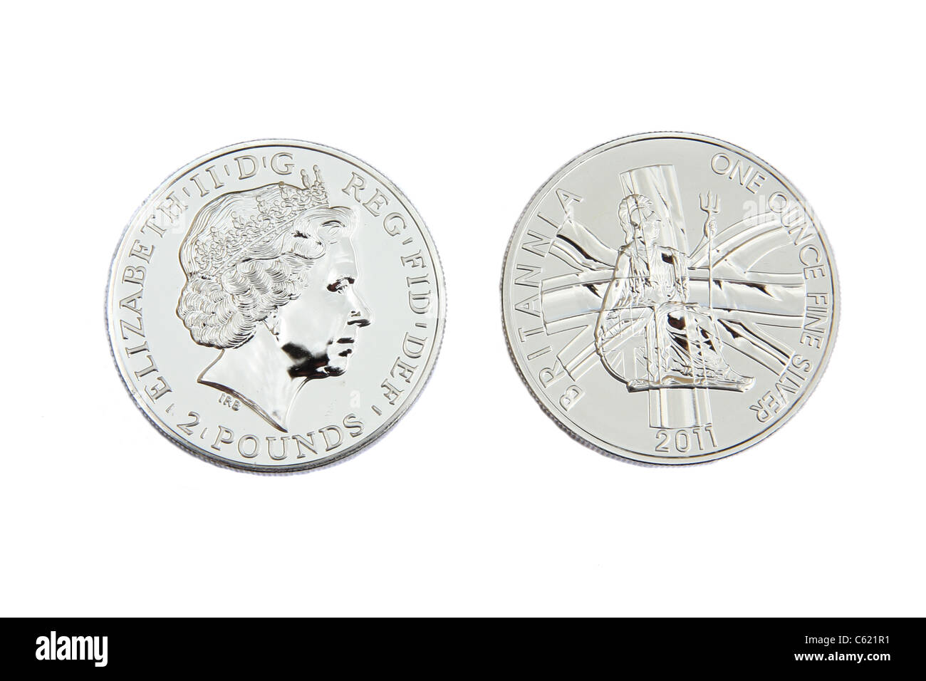 British Silver, the front and back of a one ounce silver coin. - Stock Image