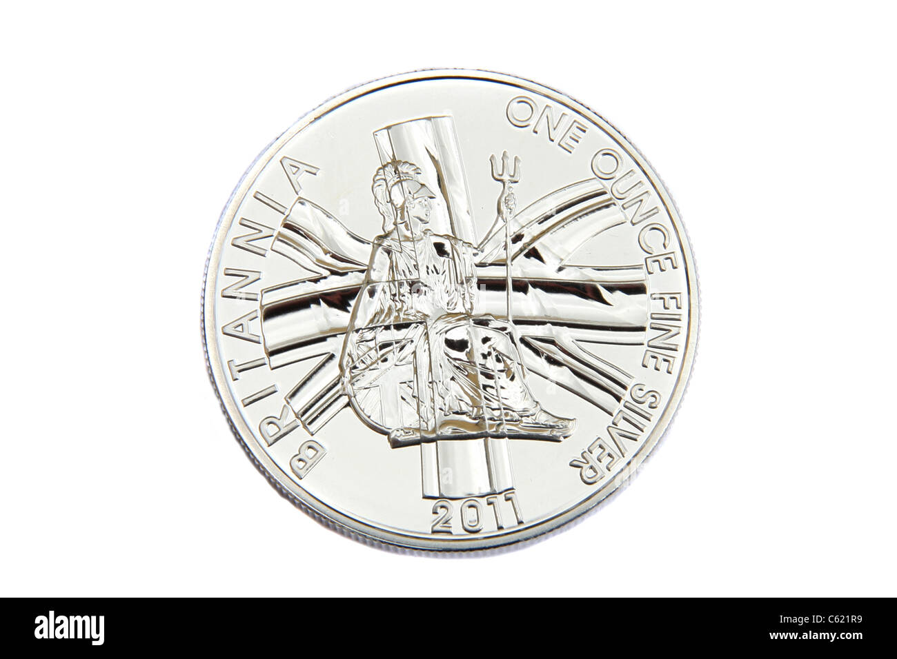 British Silver, a one ounce silver coin. - Stock Image