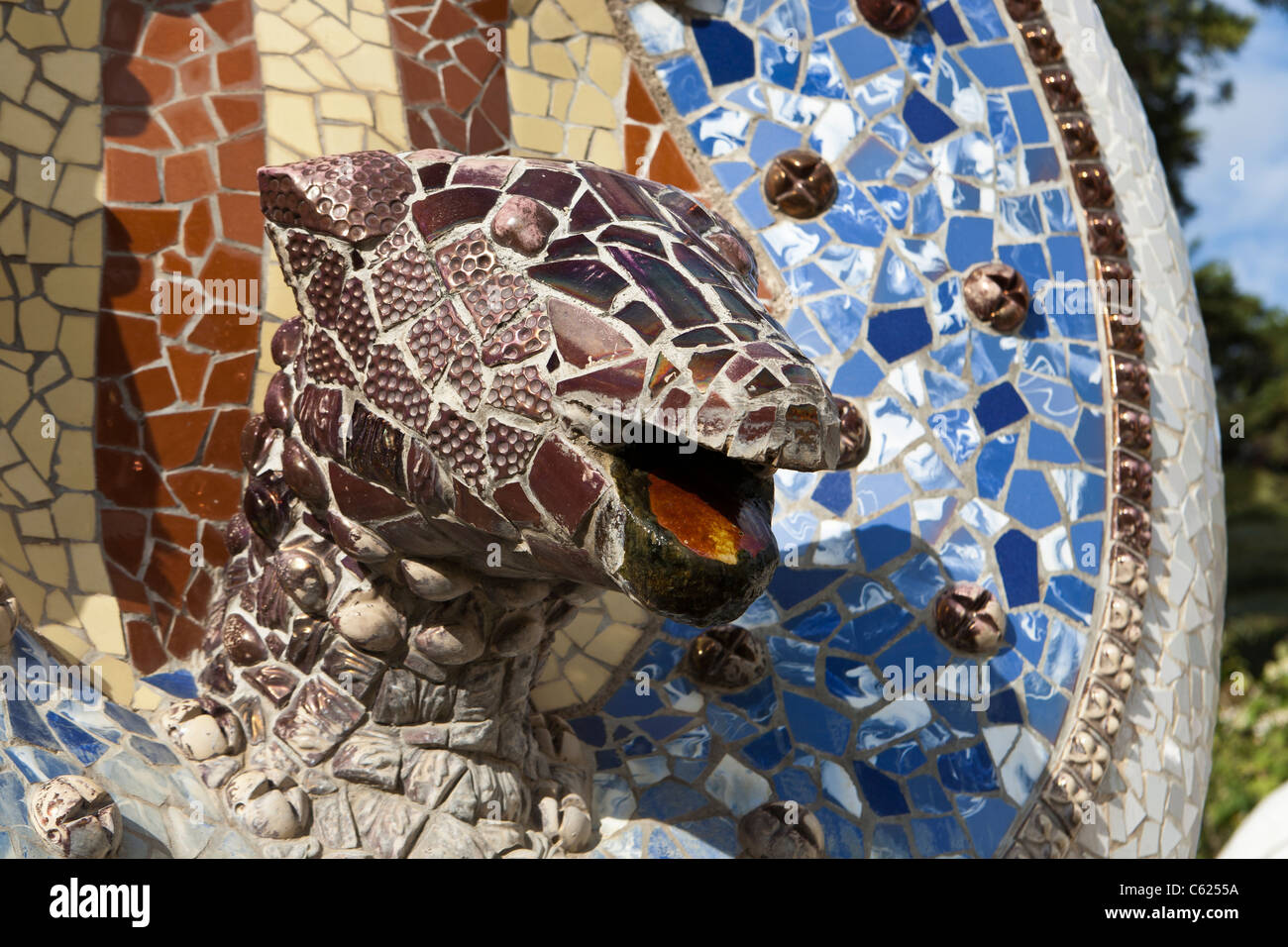 Park Güell is a public park system composed of gardens and architectonic elements located on Carmel Hill, in - Stock Image