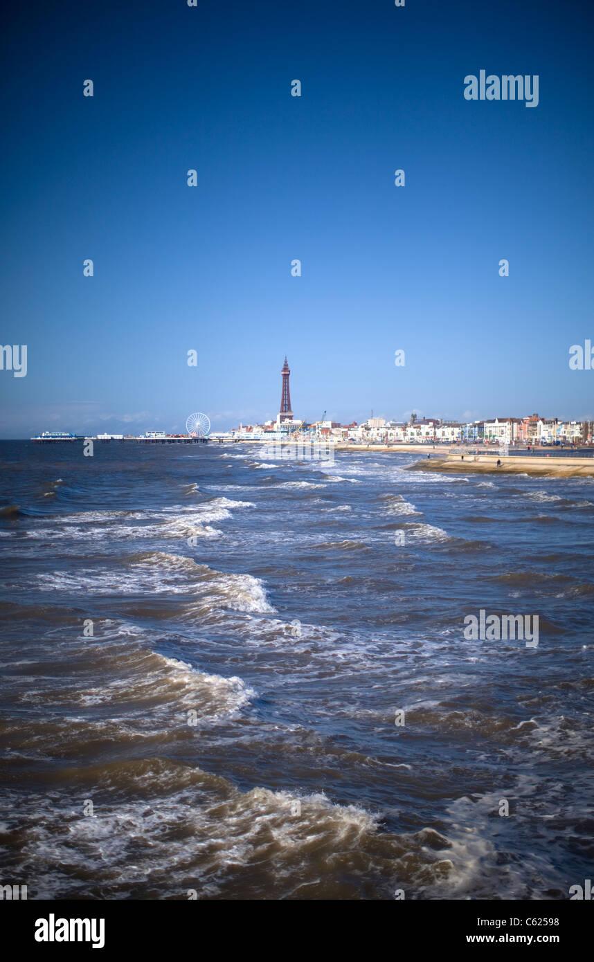 Blackpool Tower Across Sea, UK - Stock Image