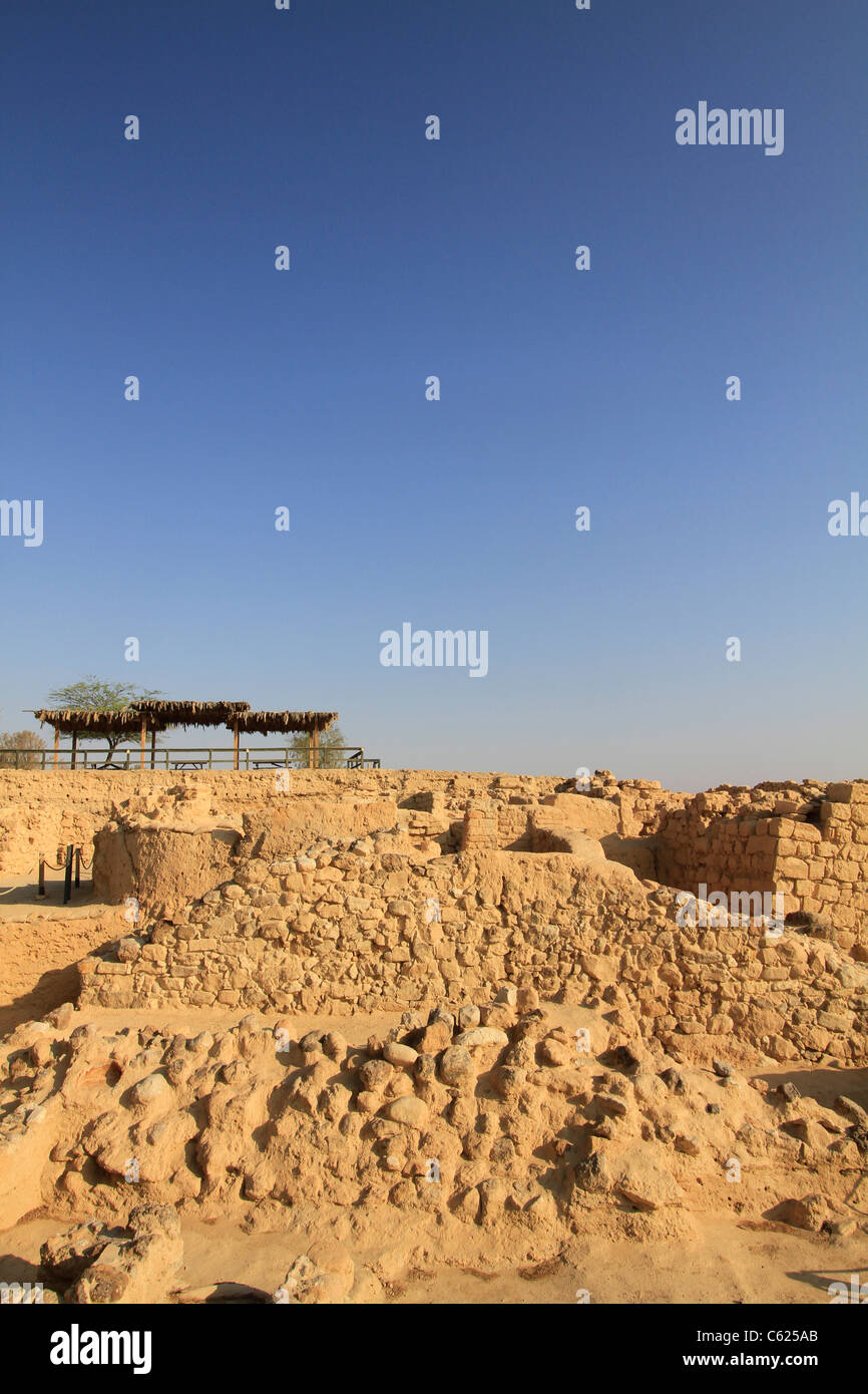 Israel, Arava, remains of Israelite fortresses at Ein Hatzeva, site of biblical Tamar Stock Photo