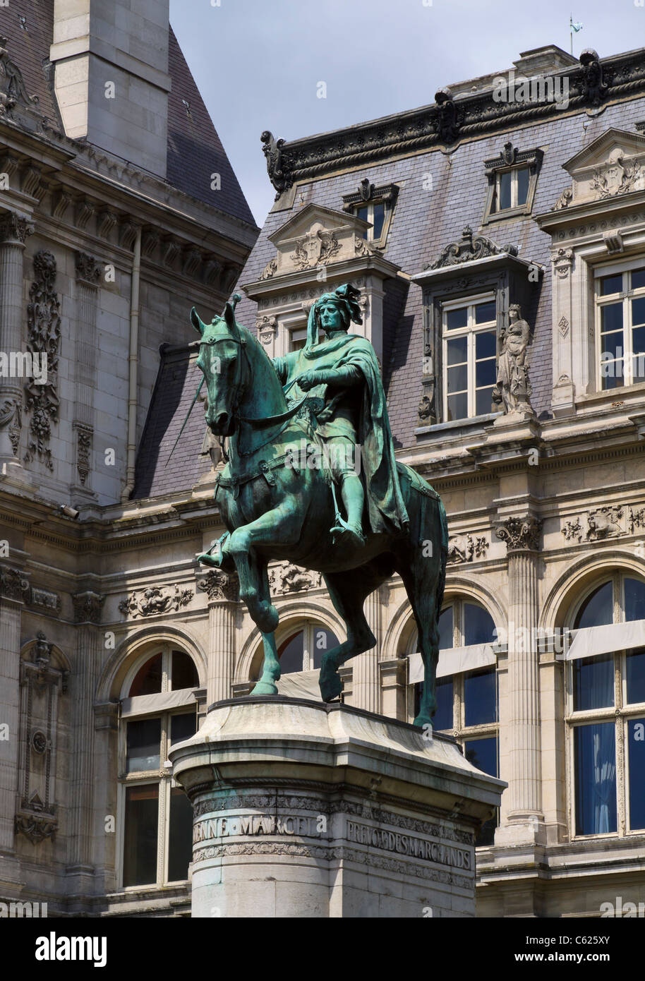 Equestrian statue of Étienne Marcel on the south side of the Hotel de Ville, Paris. - Stock Image