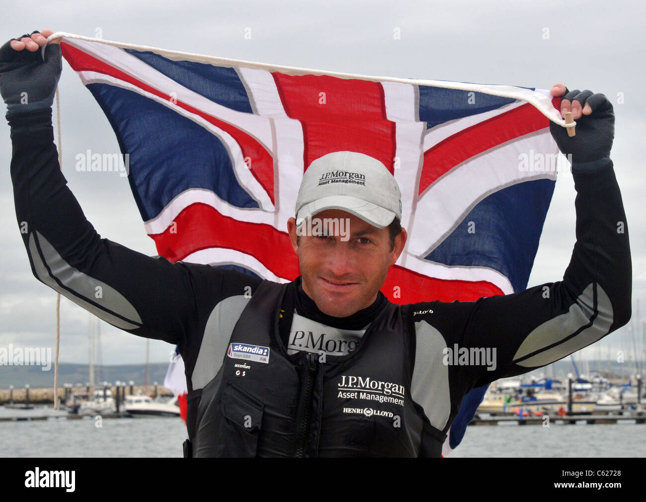UK, Olympic Test Event, Ben Ainslie wins gold for Great Britain - Stock Image