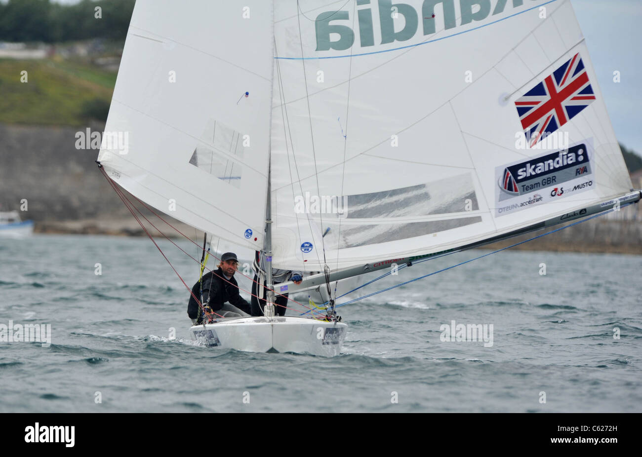 UK, Olympic Test Event, Iain Percy and Andrew Simpson after they won silver for Great Britain - Stock Image