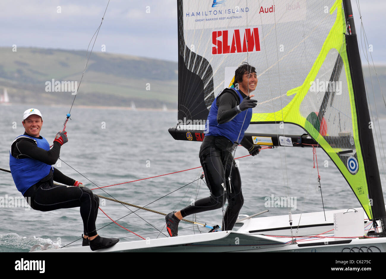 UK, Olympic Test Event, Nathan Outteridge and Iain Jensen win Gold in the 49ER Class medal race for Australian - Stock Image