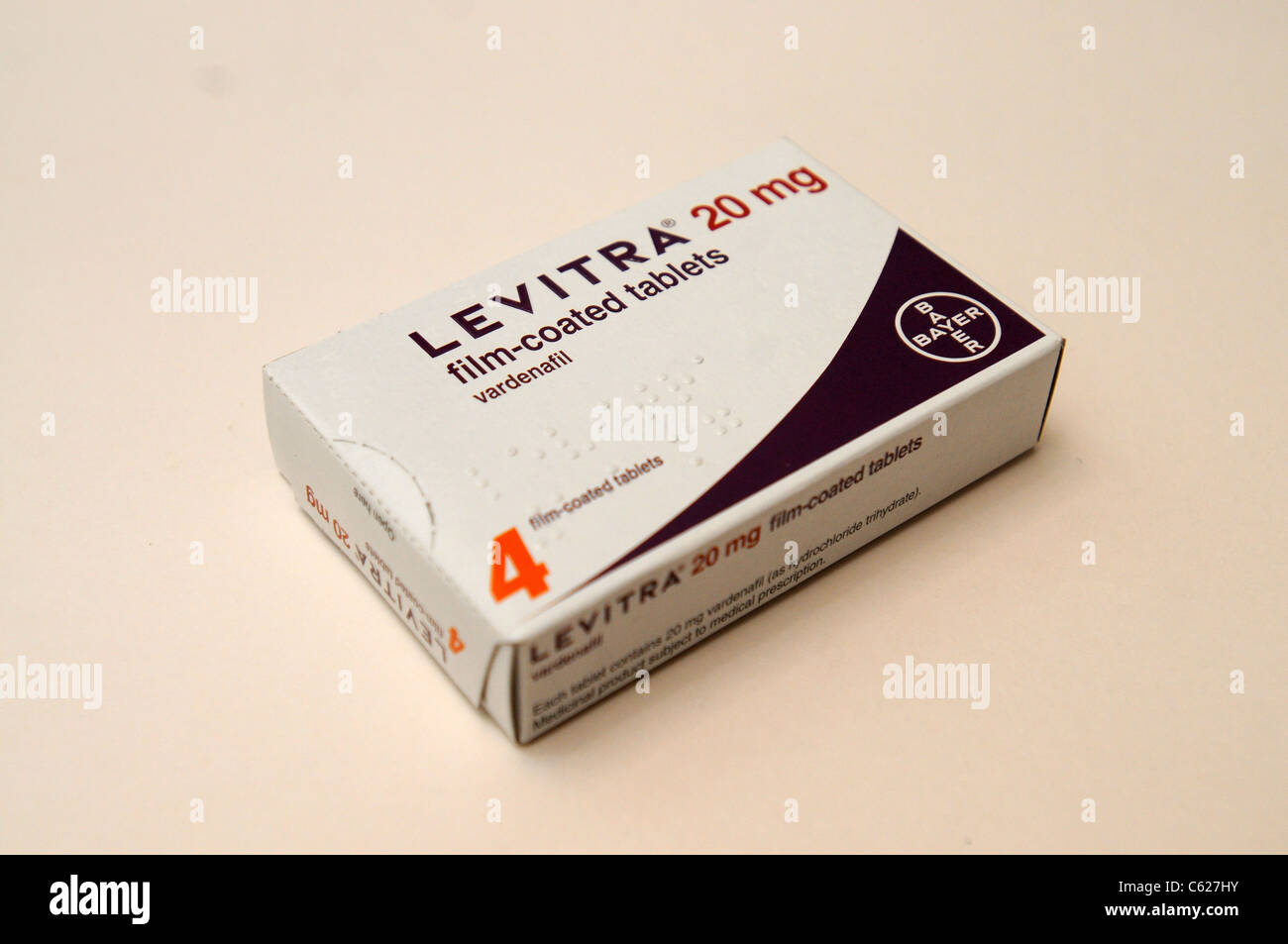 Vardenafil is used for treating  male impotence (erectile dysfunction) that is sold under the trade names Levitra - Stock Image