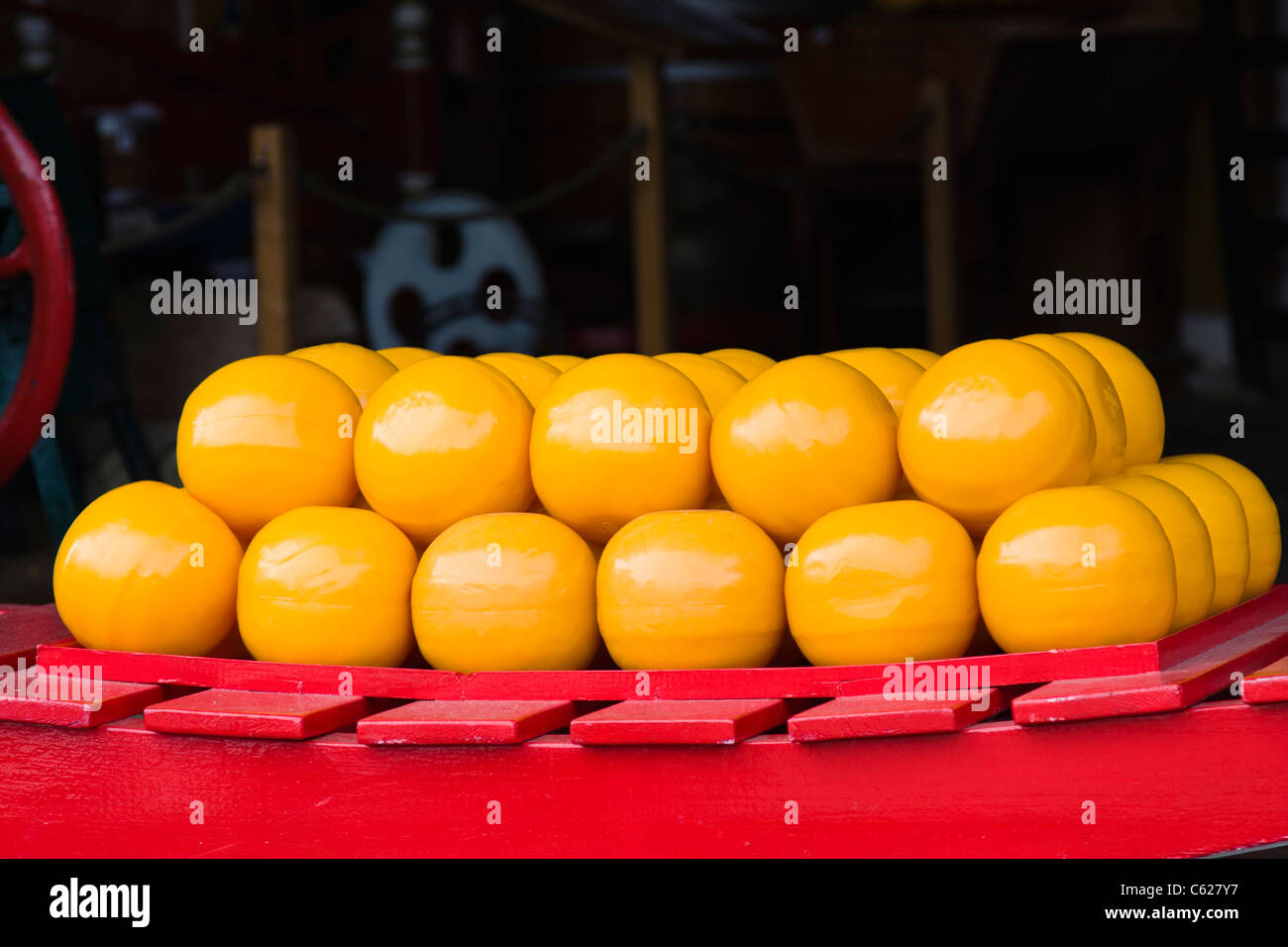 Cheese at the Cheese Market in Edam, North Holland, The Netherlands. - Stock Image