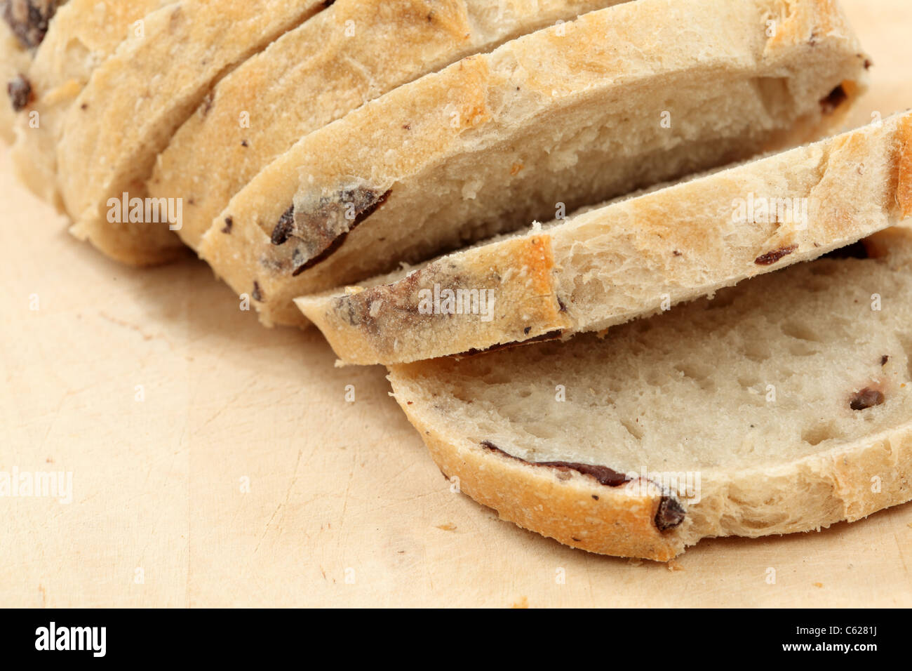 Closeup of traditional Italian olive bread - Stock Image