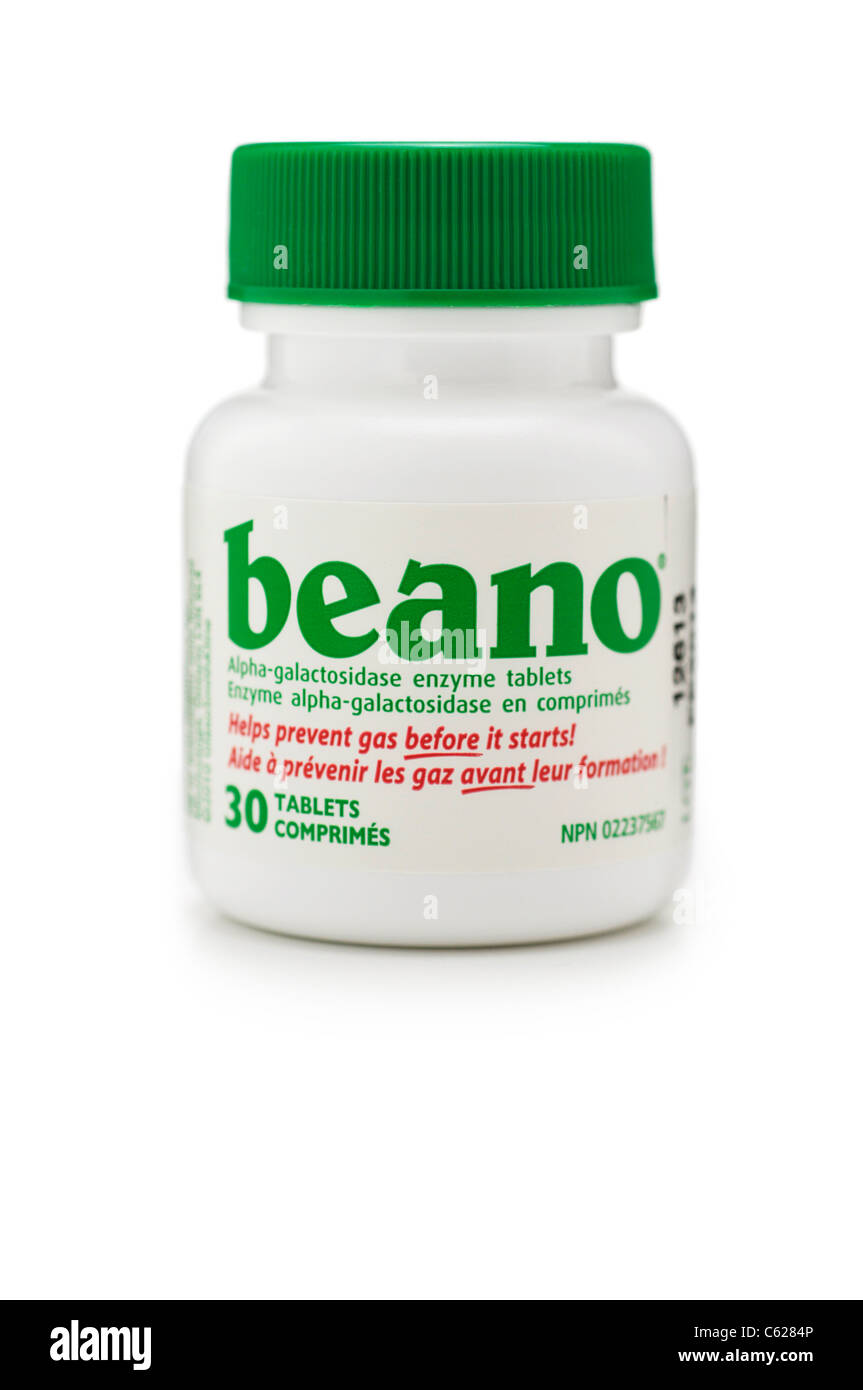 Beano, Alpha-Galactosidase Enzyme Tablets for Gas prevention - Stock Image