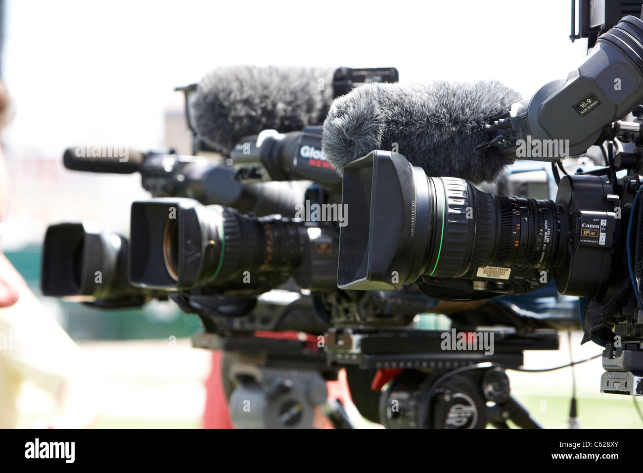 tv camera crews cameras on tripods with mics regina canada - Stock Image