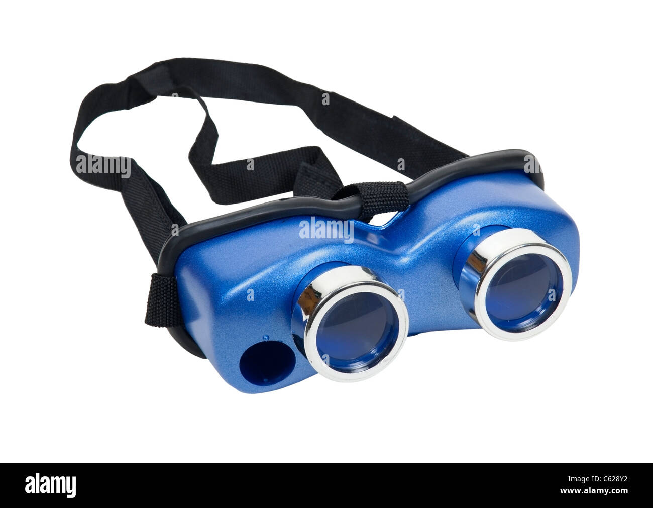 Blue headgear goggles that fit over the head for a magnified view - path included - Stock Image