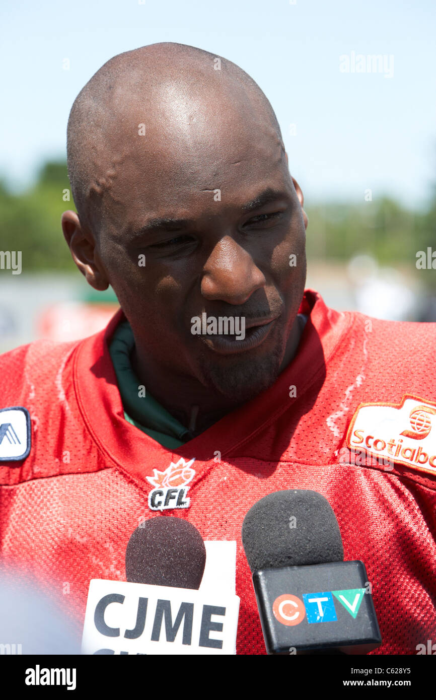 darian durant saskatchewan roughriders quarterback being interviewed during pre season training mosaic stadium taylor - Stock Image