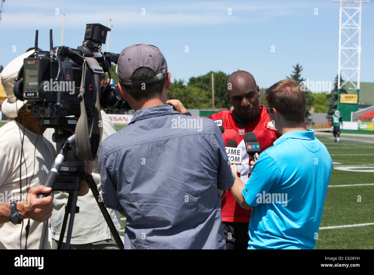 saskatchewan roughriders quarterback darian durant being interviewed during pre season training mosaic stadium taylor - Stock Image