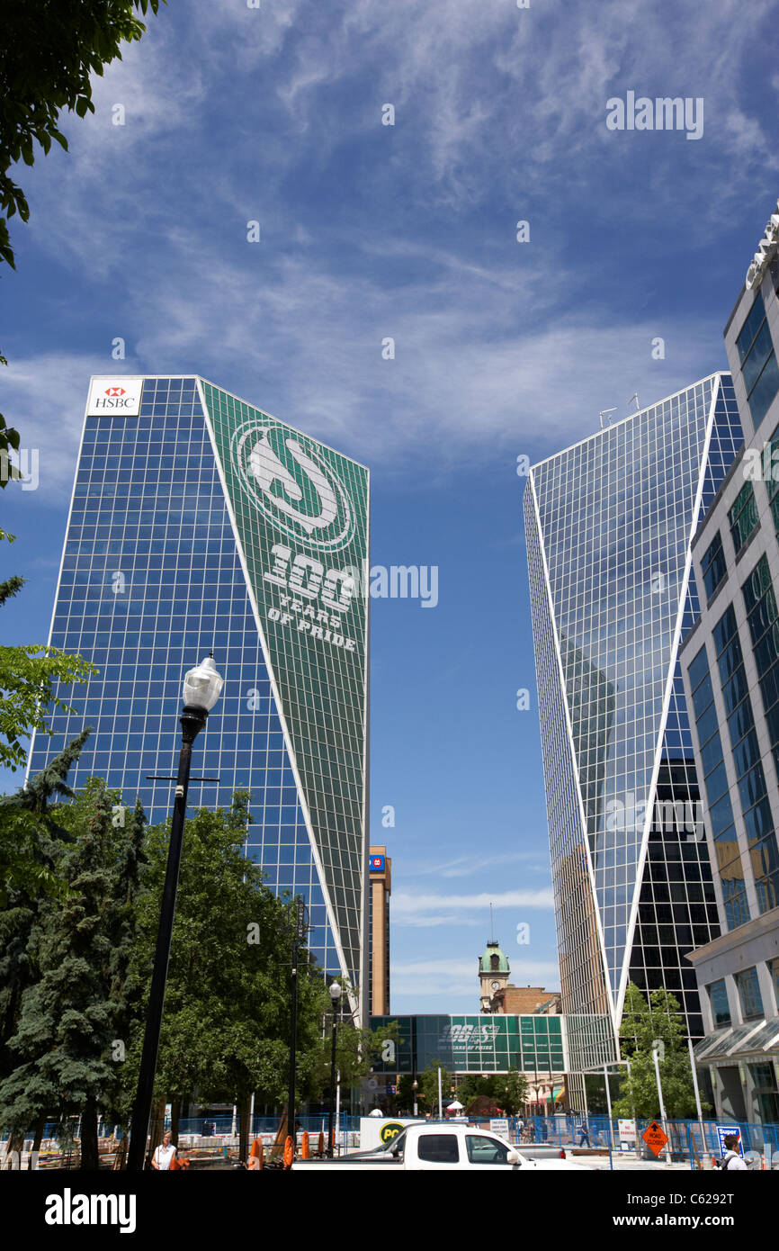 HSBC mcallum hill centre building with 100 year anniversary roughriders logo financial district downtown regina - Stock Image
