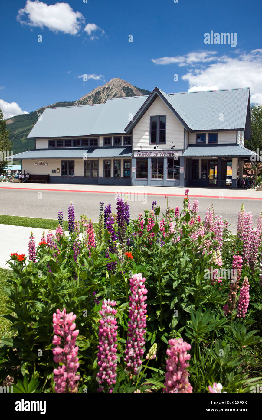 Chamber of Commerce, Crested Butte, Colorado a vacation resort town located in the Rocky Mountains in Central Colorado, - Stock Image