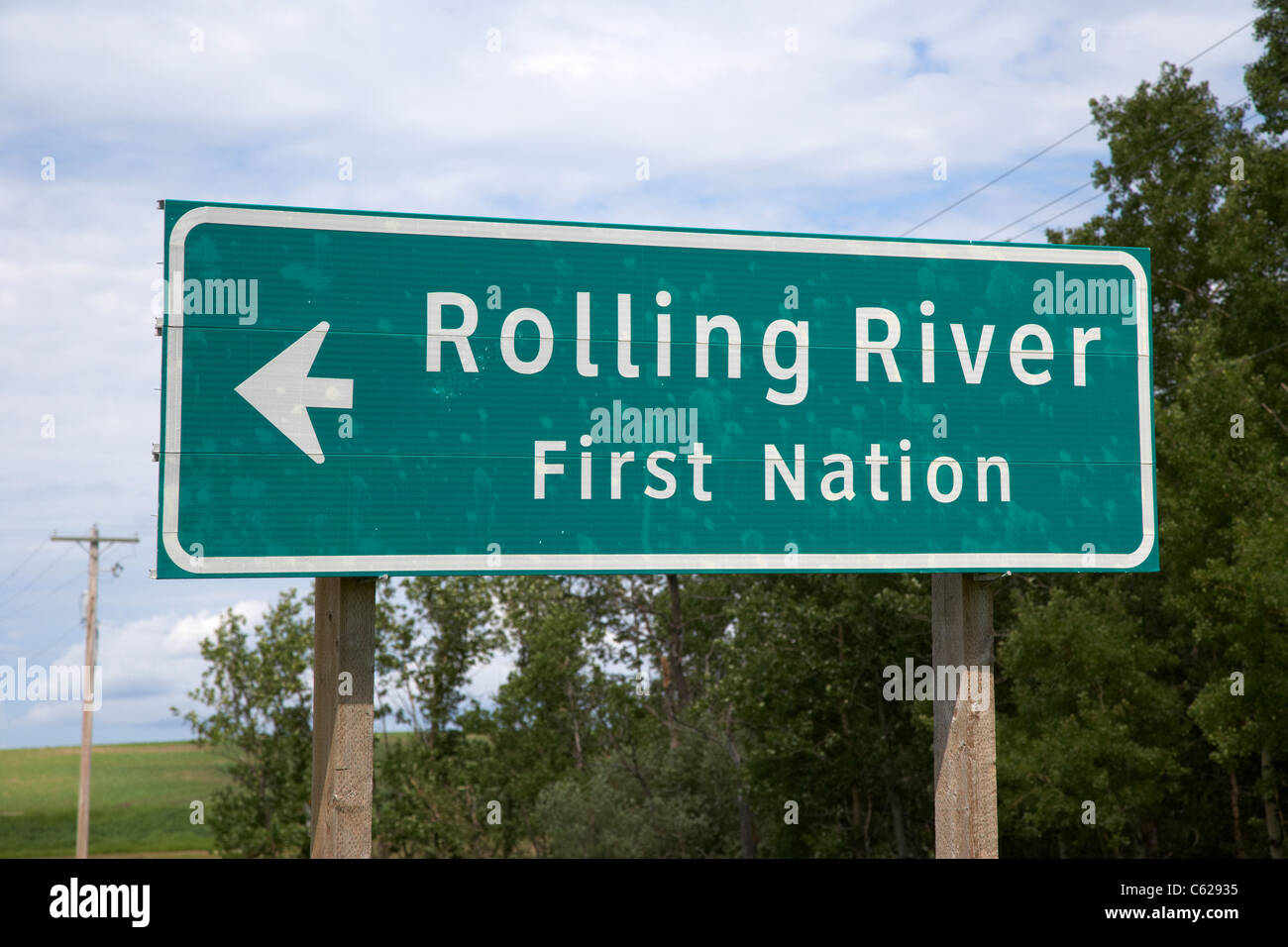 sign for rolling river first nation reservation highway sign in manitoba canada - Stock Image