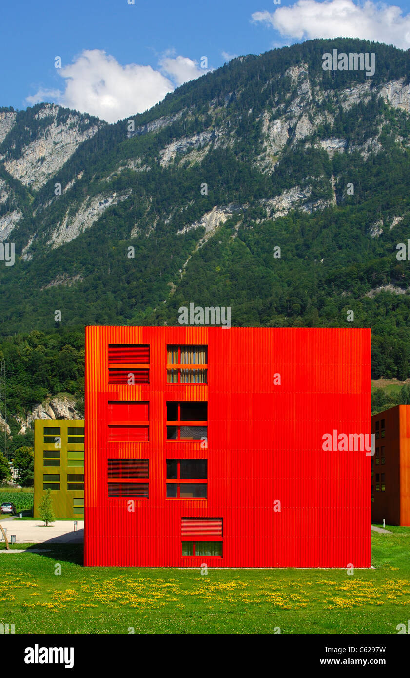 Colourful apartement buildings in the housing estate Les Iles, St-Maurice, Valais, Switzerland Stock Photo