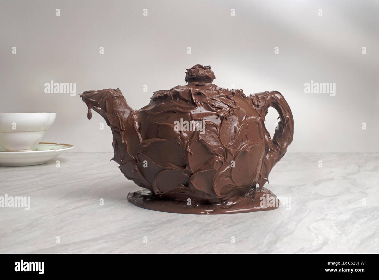 Chocolate teapot - Stock Image