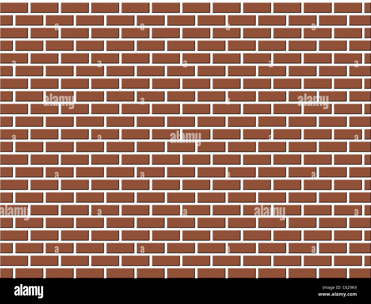 Red brick wall background for design isolated on white - Stock Image