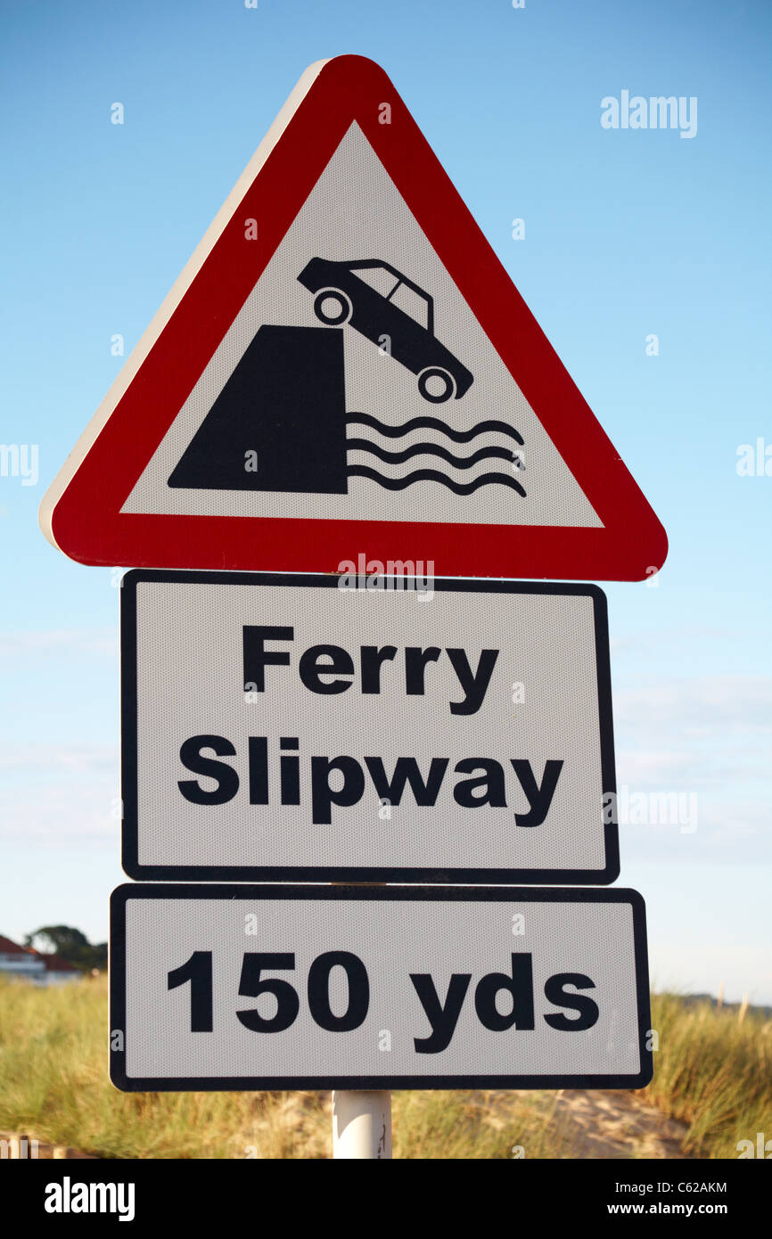 Ferry slipway 150 yds road sign at Studland - Stock Image