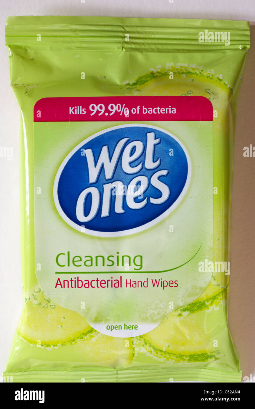Packet of Wet ones cleansing antibacterial hand wipes on white background