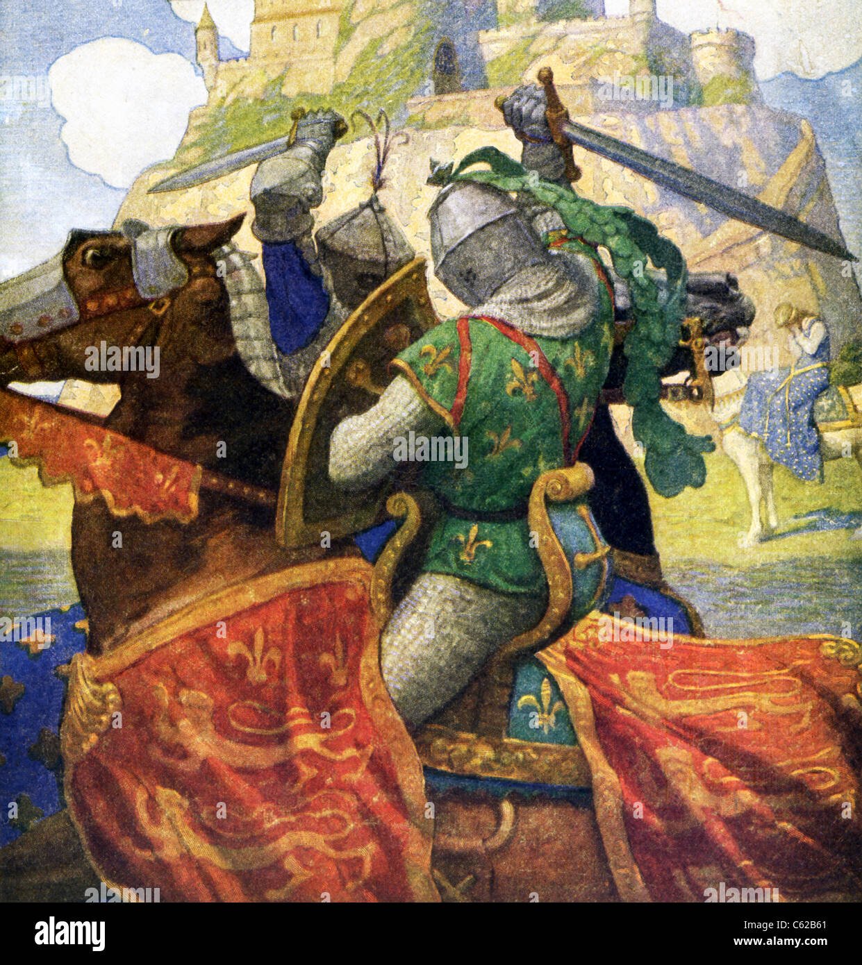 The two knights are Anglo-Saxon knights and specifically represent those associated with King Arthur and his Knights. - Stock Image