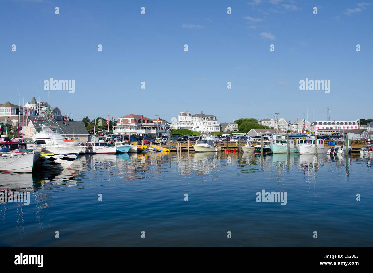 Rhode Island, Block Island (aka New Shoreham). The scenic harbor area of downtown Block Island. Stock Photo